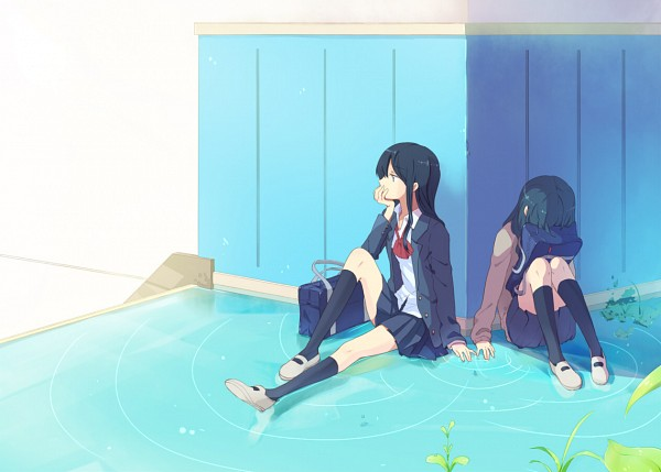 Tags: Anime, sou (Pixiv2760884), Covering Face, Sitting In Water, Touching Fingers, Original, Pixiv