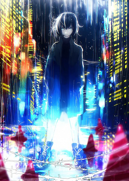 Tags: Anime, tarbo, Traffic Cone, Skyscraper, Barbed Wire, Original, Mobile Wallpaper, Pixiv, PNG Conversion