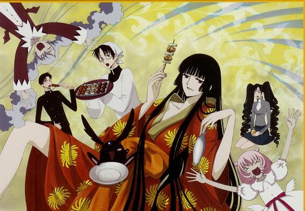 Tags: Anime, xxxHOLiC, Mokona Modoki (Black), Watanuki Kimihiro, Moro-dashi, Kunogi Himawari, Maru-dashi, Doumeki Shizuka, Ichihara Yuuko, Scan, Official Art