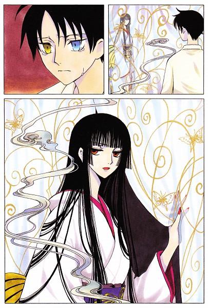 Tags: Anime, CLAMP, xxxHOLiC, Watanuki Kimihiro, Ichihara Yuuko, Mobile Wallpaper, Manga Color, Official Art, Scan