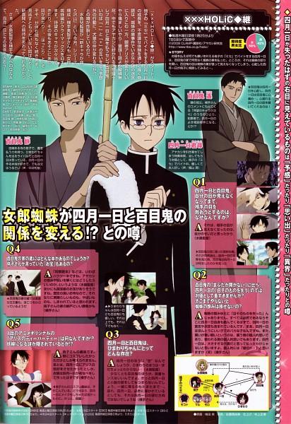Tags: Anime, xxxHOLiC, Watanuki Kimihiro, Doumeki Haruka, Doumeki Shizuka, Official Art, Magazine (Source), Screenshot, Scan